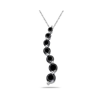 1 1/2 Carat Black Diamond S Journey Pendant in 14K White Gold