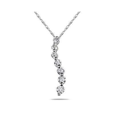 1 1/2 Carat Diamond Journey Pendant in 14K White Gold