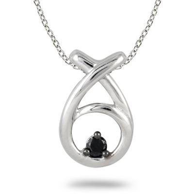 0.05 Carat Black Diamond Loop Pendant in .925 Sterling Silver