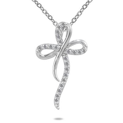 1/4 Carat Diamond Cross Pendant in 10K White Gold