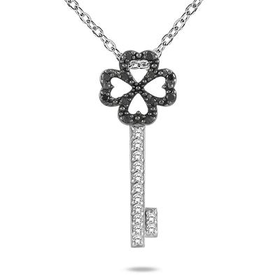 1/4 CTW Black and White Diamond Key Pendant in 10K White Gold