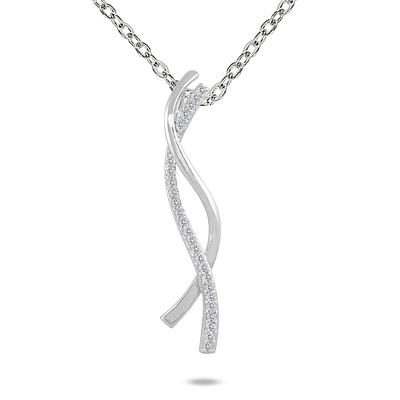 1/4 Carat Diamond Twist Pendant in 10K White Gold