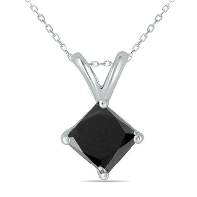 1/2 Carat Princess Cut Black Diamond Solitaire Pendant in 14K White Gold
