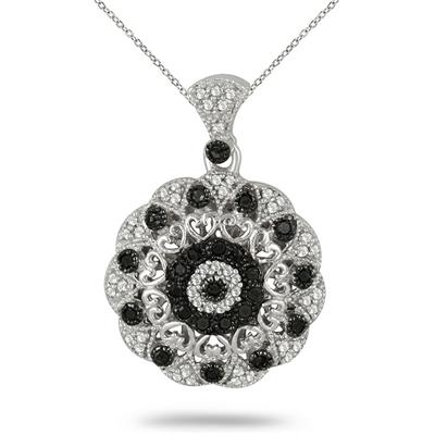 1/2 Carat T.W Black and White Diamond Pendant in .925 Sterling Silver
