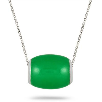 10mm All Natural Green Jade Barrel Pendant in .925 Sterling Silver