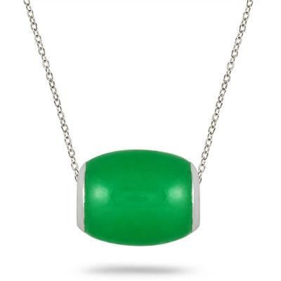 10mm All Natural Green Jade Barrel Pendant in .925 Sterling Silver