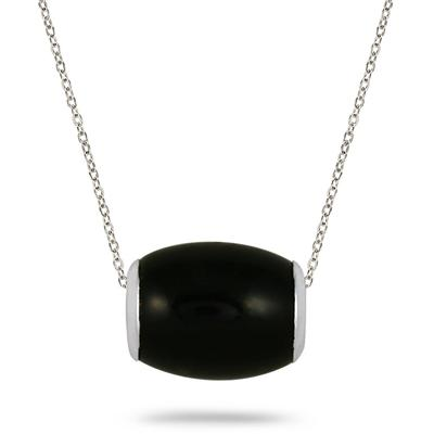 All Natural Black Onyx Barrel Pendant in .925 Sterling Silver