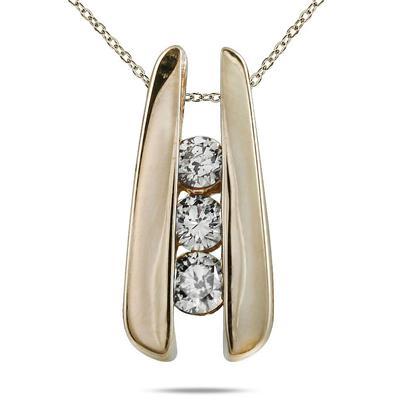 1/4 Carat Three Stone Diamond Pendant in 14K Yellow Gold
