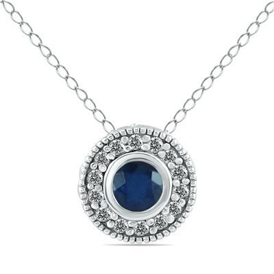 1/6 Carat TW Diamond and Sapphire Pendant in 10K White Gold