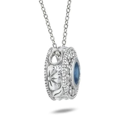 1/6 CTW Diamond and Sapphire Pendant in 10K White Gold