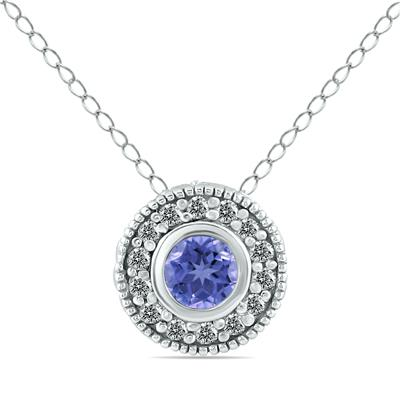 1/6 CTW Diamond and Tanzanite Pendant in 10K White Gold