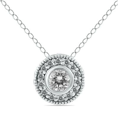 3/8 Carat Diamond Bezel Pendant in 10K White Gold