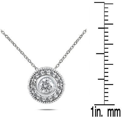 3/8 Carat TW Diamond Bezel Pendant in 10K White Gold