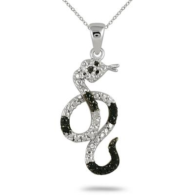 Black and White Diamond Snake Pendant in .925 Sterling Silver