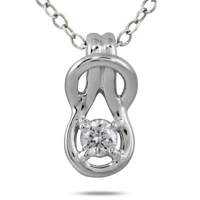 1/6 Carat Diamond Love Knot Pendant in 10K White Gold