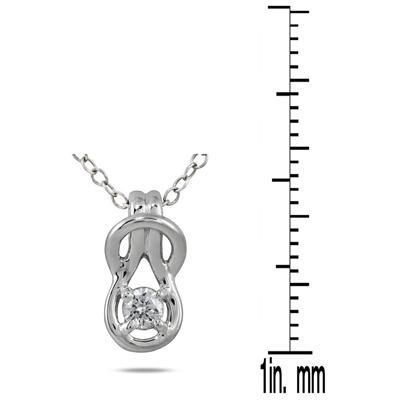 1/6 Carat Diamond Love Knot Pendant in 10K White Gold