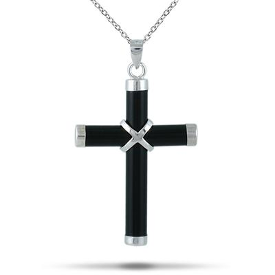Al Natural Onyx Cross Pendant in 925 Sterling Silver