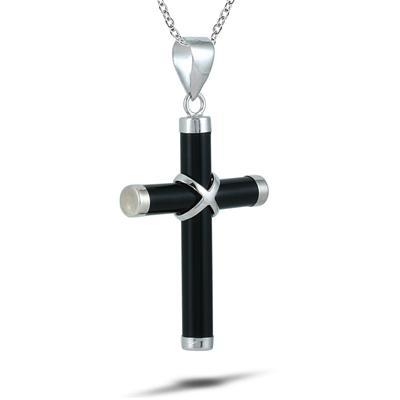 Al Natural Onyx Cross Pendant in 925 Sterling Silver