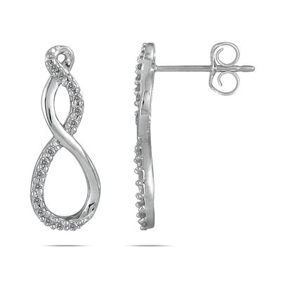 1/4 Carat Diamond Infinity Twist Earrings in .925 Sterling Silver