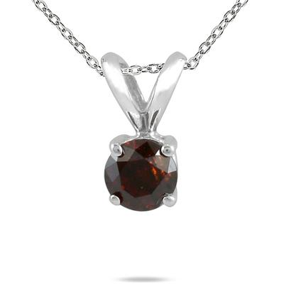 1/4 CTW Cognac Diamond Pendant in 14K White Gold