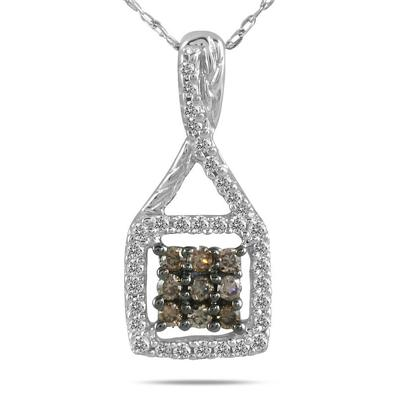 Champagne and Diamond Pendant in 10K White Gold