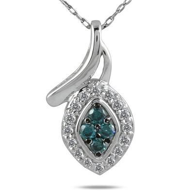 1/5 Carat TW Blue and White Diamond Pendant in 10K White Gold