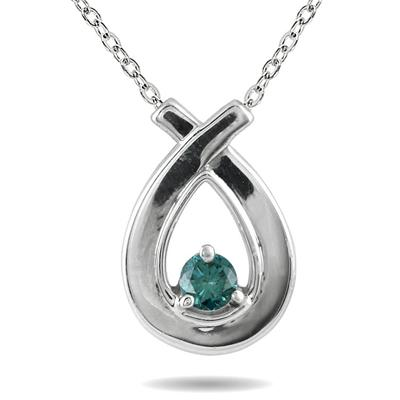 Blue Diamond Loop Pendant in 10K White Gold