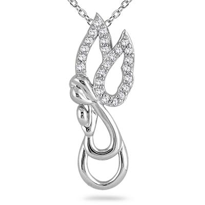 1/10 Carat TW Diamond Angel Pendant in 10K White Gold