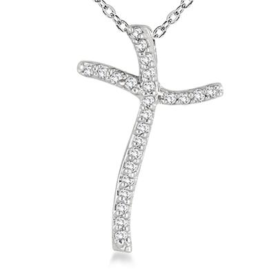 1/10 Carat Diamond Cross Pendant in 10K White Gold