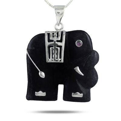 Black Onyx Elephant Pendant in .925 Sterling Silver Pendant