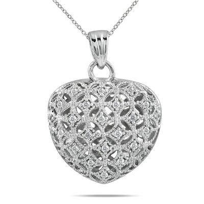 1/4 Carat Diamond Heart Puff Pendant on .925 Sterling Silver