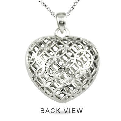1/4 Carat Diamond Heart Puff Pendant on .925 Sterling Silver