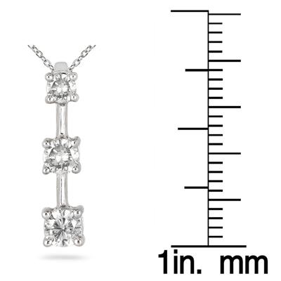 1/4 Three-Stone Diamond Drop Pendant