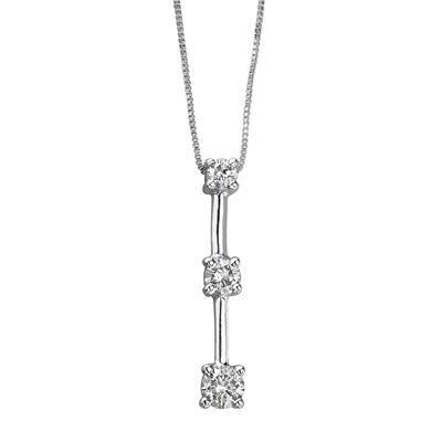 1/7CTW Three Stone Diamond Drop Pendant 10K White Gold