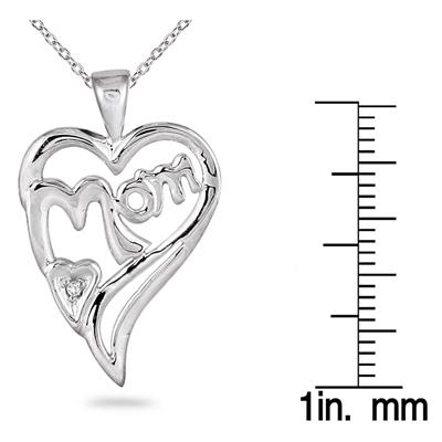 MOM Diamond Heart Pendant 14K White Gold