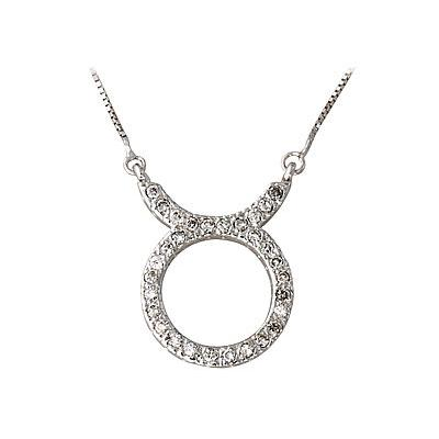 1/3 Carat Diamond Taurus Zodiac Pendant 14K White Gold (April 20 - May 20)