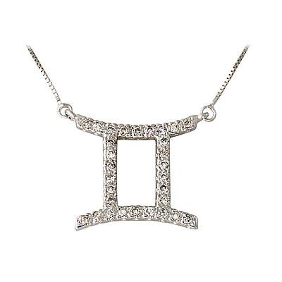 .30ctw Diamond Gemini Zodiac Pendant 14K White Gold (May 21 - June 21)