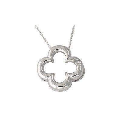 14kt. White Gold Flower Diamond Pendant