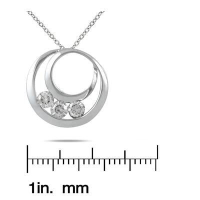 1/2 Carat Three Stone Circle Pendant in 14K White Gold