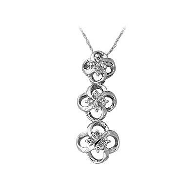 Three Stone Flower Pendant in 14kt White Gold