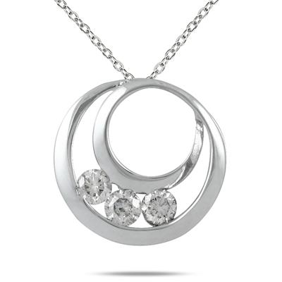 1/4 Carat Three Stone Circle Pendant in 14K White Gold