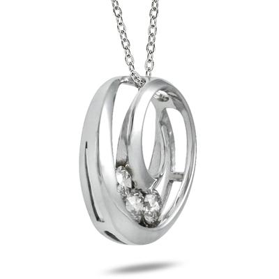 1/4 Carat TW Three Stone Circle Pendant in 14K White Gold