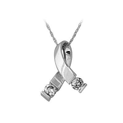 Ribbon Twist Pendant in 14kt White Gold