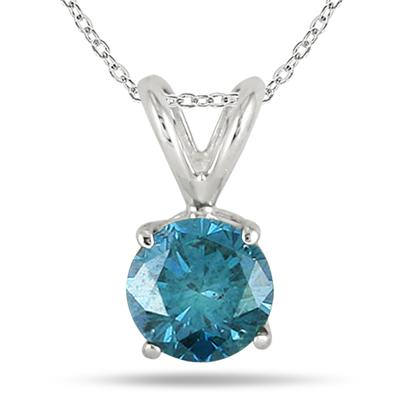 1.00 Carat Blue Diamond Solitaire Pendant in 14K White Gold