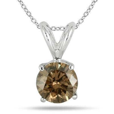 1.00 Carat Champagne Diamond Solitaire Pendant in 14K White Gold