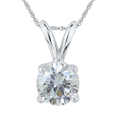 1 Carat Diamond Solitaire Pendant in 14K White Gold (J-K Color, I2-I3 Clarity)