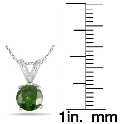 1 Carat Green Diamond Solitaire Pendant in 14K White Gold