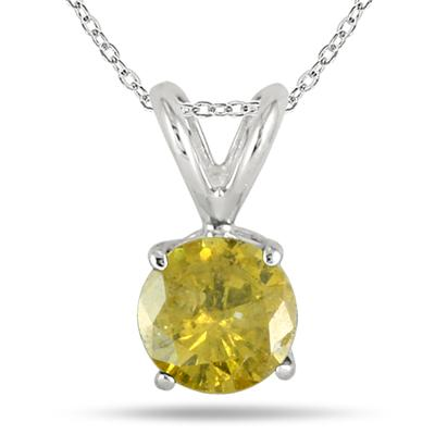 1 Carat Yellow Diamond Solitaire Pendant in 14K White Gold