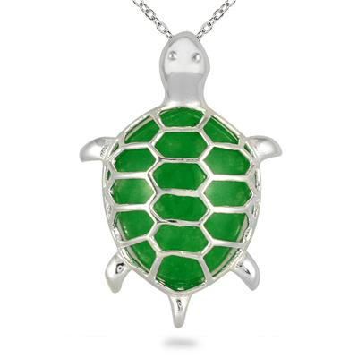 All Natural Green Jade Turtle Pendant in .925 Sterling Silver