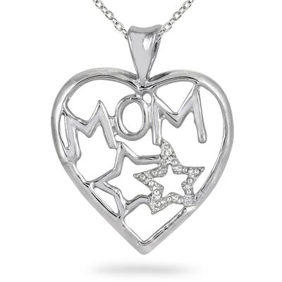 Diamond Heart and Star MOM Pendant in .925 Sterling Silver